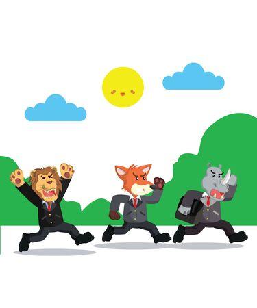 three businessman run vector illustration