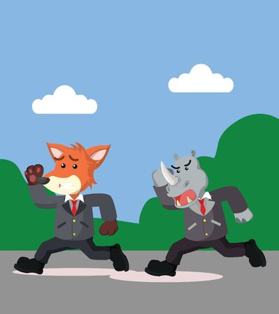 Fox business and rhino run vector illustration
