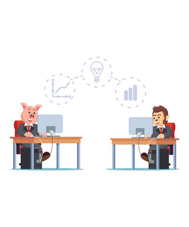 business animals share thought vector illustration
