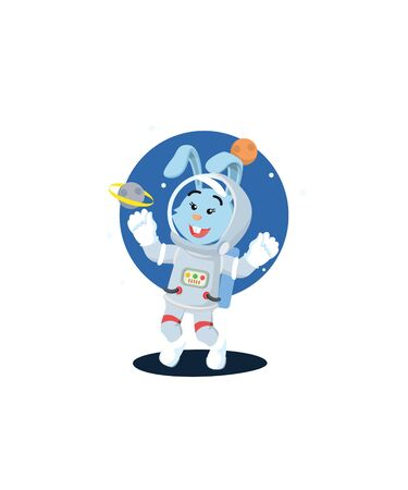 astronauts women rabbit happy with a galaxy  イラスト・ベクター素材