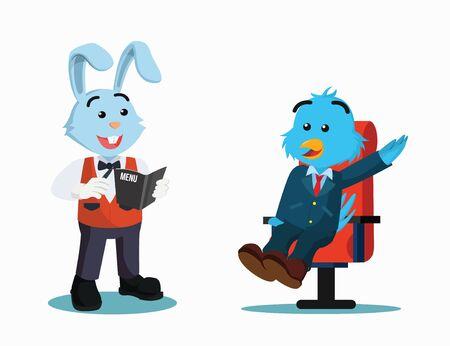 business bird call waiters vector illustration