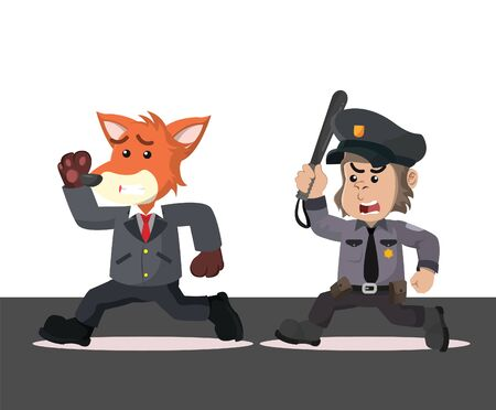 businessman chased by police vector illustration