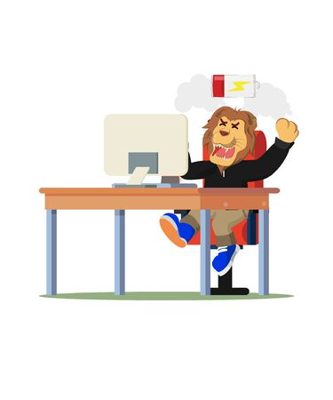 businessman lion angry and tired vector illustration