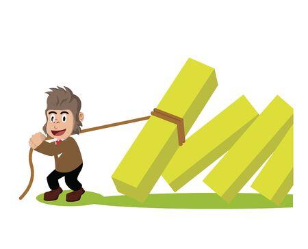 business gorilla pulling falling diagram Stock Illustratie
