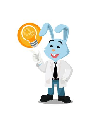 professor rabbit got an idea vector illustration