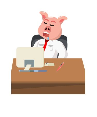 businessman pig sleep in office vector illustration