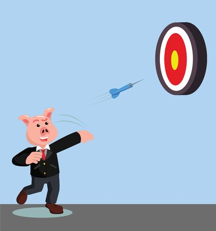 pig businessman play dart game vector illustration