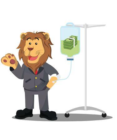 León empresario en vector de infusión de efectivo Ilustración de vector