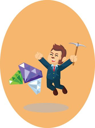Monkey businessman gets diamonds vector illustration