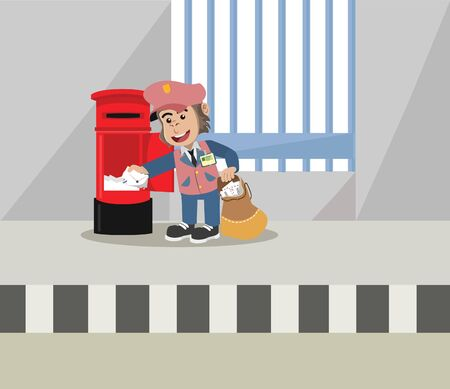 gorila postman taking out mail vector illustration