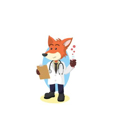 professor fox vector illustration design