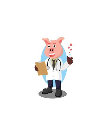 professor pig vector illustration design