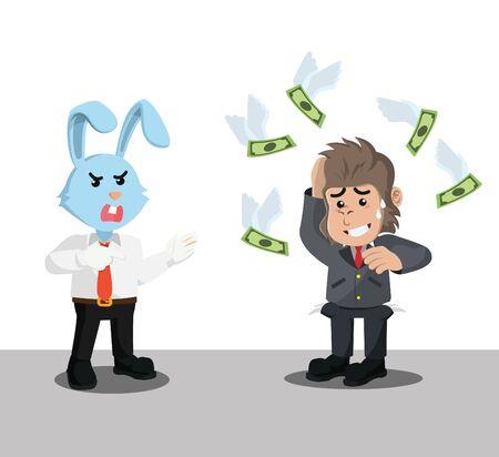 rabbit collect debts to gorilla vector illustration