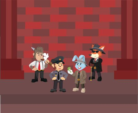 mafia boss meets with police and detective Illustration
