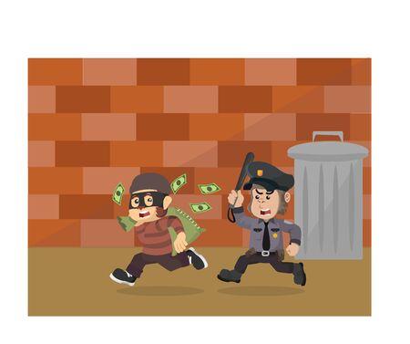 gorilla police chasing money thieves vector
