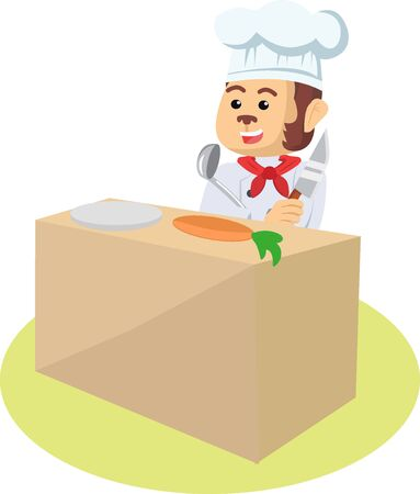 Chef Monkey is cooking vector illustration Stock Illustratie