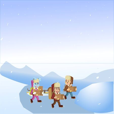 three animals walking in the snow vector