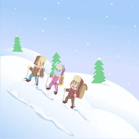 three animals climbing snow mountains vector Illustration