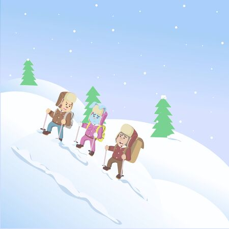 three animals climbing snow mountains vector