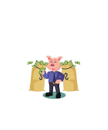 rich pig businessman vector illustration