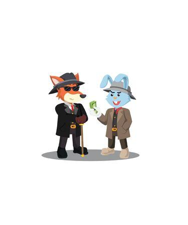 mafia rabbit gives money to the mafia boss
