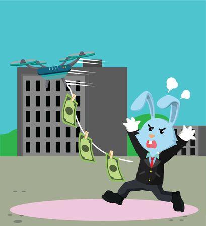 rabbit business man chasing money vector Illustration