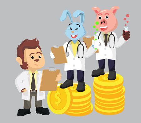 3 profesor with money vector illustration Foto de archivo - 134818743