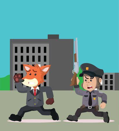 empresario perseguido por la policía ilustración vectorial