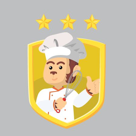chef monkey with a logo vector illustration