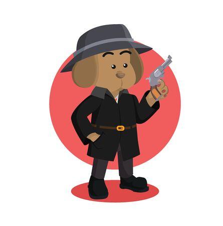 chien détective tenant une illustration vectorielle de pistolet