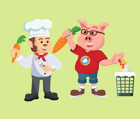 chef and pigs eat carrots vector illustration Illustration