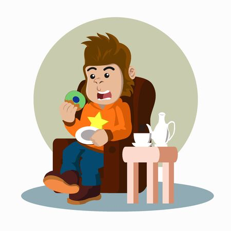 gorila eat donuts and drink coffee  vector