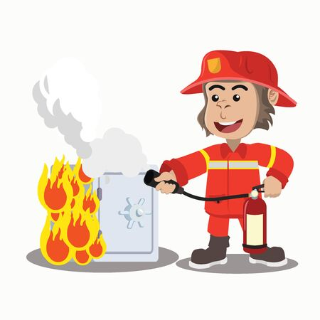 the gorilla fire extinguisher put out the burning safe  イラスト・ベクター素材