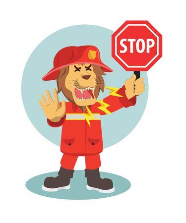 lion firefighter stop warning vector illustration  イラスト・ベクター素材