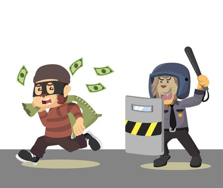 money thieves chased by the police  vector