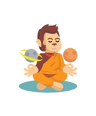 monk monkey meditating with planets vector Imagens - 135351538