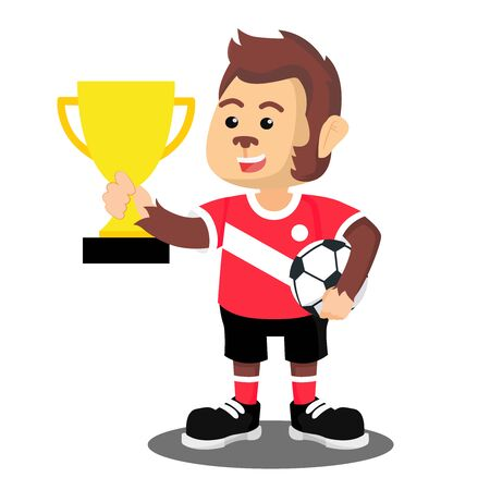 monkey wins a football match vector illustration  イラスト・ベクター素材