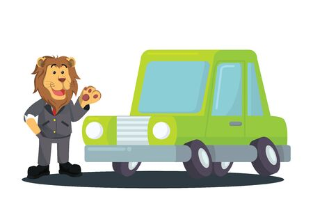 a new car owned by a lion businessman vector Illustration