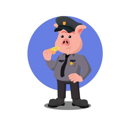 police pig officer is eating pizza  vector