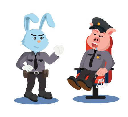 police rabbit angry to police pig  vector Standard-Bild - 135215902