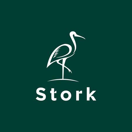 Elegant stork logo icon design template  イラスト・ベクター素材