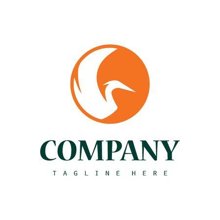 Creative stork logo icon design with sun