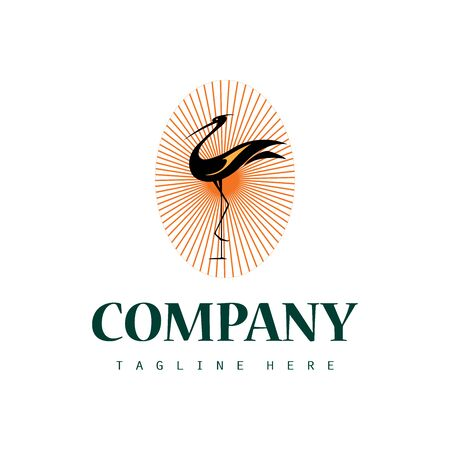 Creative stork logo icon design with abstract sun