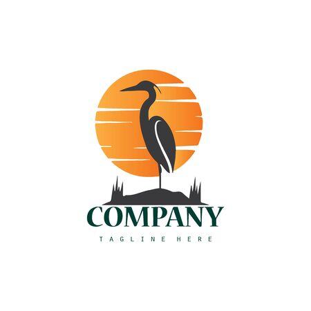 Creative stork logo icon design with sunset  イラスト・ベクター素材