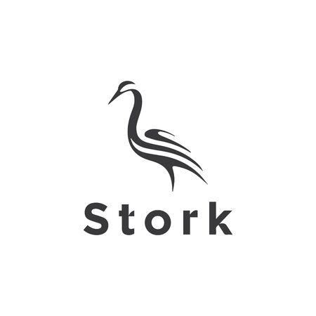 Stork abstract logo design template  イラスト・ベクター素材