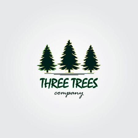 Three trees logo design inspiration. Three trees design logo template. Creative ideas illustration of three pine trees design logos Logo