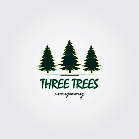 Three trees logo design inspiration. Three trees design logo template. Creative ideas illustration of three pine trees design logos