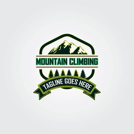 The design of the mountaineer logo. Retro vintage mountain climbing logo design. Mountain climbing badges logo design template