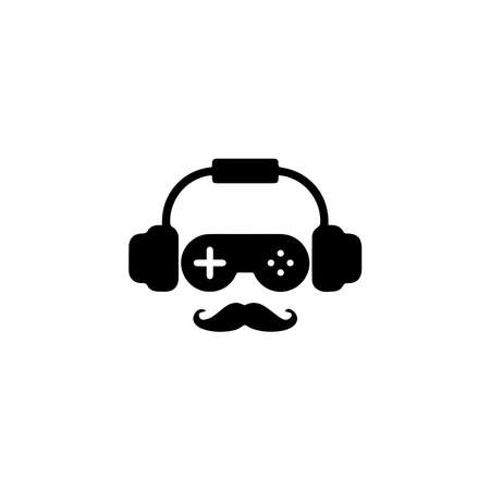 Head icon combination of earphones, joystick and mustache