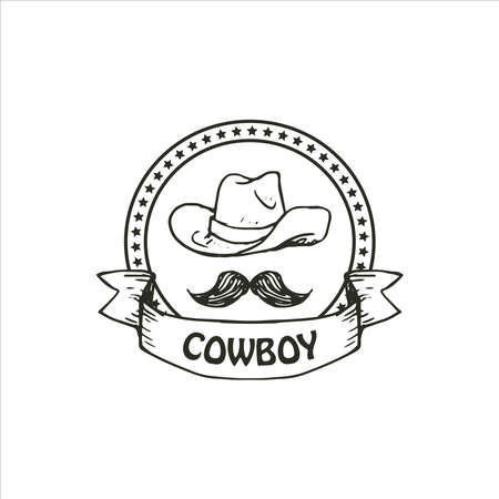 Cowboy logo template with star link frame and mustache hat. Simple hand drawn illustration of wild vector vector logo of wild cowboy. rustic cowboy hand drawing